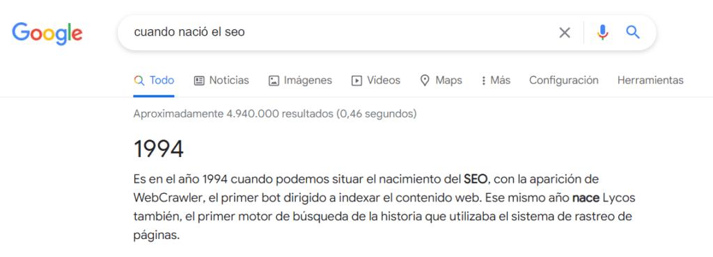 La posición cero de Google cada vez tiene más importancia. Como muestra un ejemplo de la posición cero para la búsqueda de cuando nació el SEO
